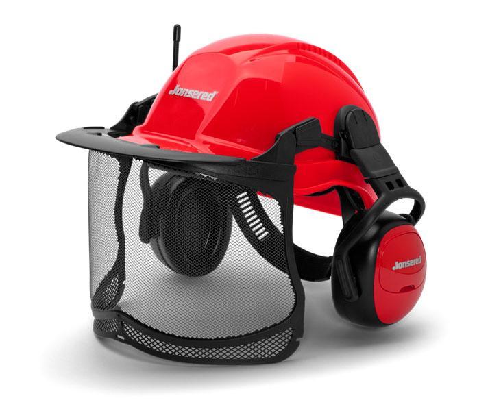 Jonsered Sikkerhedshjelm med MAX SIGHT og Høreværn med FM radio